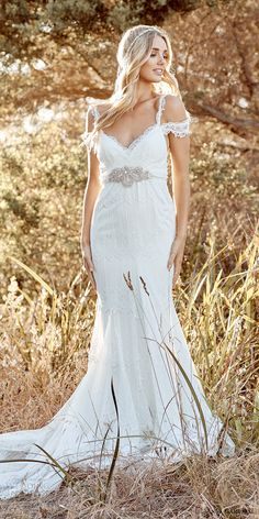 anna campbell 2017 bridal off the shoulder lace strap sweetheart neckline full embroidered elegant sheath wedding dress open back chapel train (mia) mv -- Anna Campbell 2017 Wedding Dresses 2017 Bridal, 2017 Wedding, Trendy Wedding, Dream Wedding Dresses, Wedding Gowns, Anna Campbell Dress, Romantic Wedding Colors, Gold Gown, Dream Dress