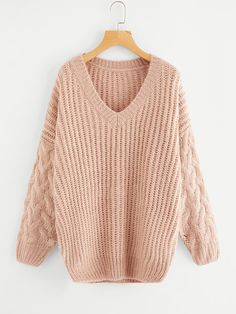 Store Drop Shoulder Chunky Knit Jumper on-line. SheIn gives Drop Shoulder Chunky Knit Jumper & extra to suit your modern wants. Chunky Cable Knit Sweater, Oversized Sweaters, Knitting Patterns, Knitting Wool, Long Sleeve Tops, Knitwear, Pullover, Clothes, Jumpers