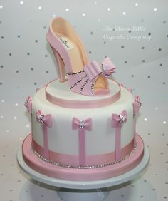 birtday cakes with shoes | pink shoe celebration cake 8 celebration cake with sugar shoe studded ...