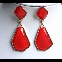 Cherry Red geometric statement stone earrings New Jewelry Earrings