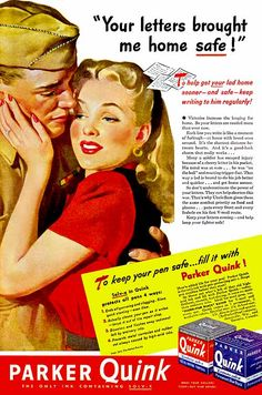 """Quink """"Your Letters Brought Me Home Safe!"""" 1945, Gil Elvgren"""