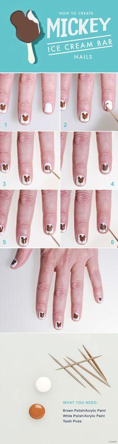 How to Create Mickey Ice Cream Bar Nails #WaltDisneyWorld