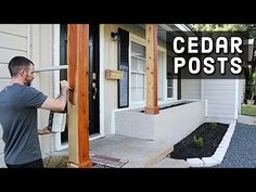How to Wrap Posts in Cedar Wood - Tutorial Wood Columns Porch, Porch Pillars, House Columns, Porch Wood, Diy Porch, Porch Post Wraps, Porch Column Wraps, Cedar Porch Posts, Front Porch Posts