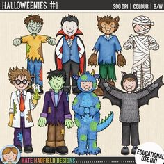 "Halloween Kids Clip Art 1: ""Halloweenies 1"""
