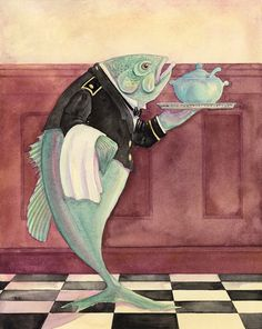 """""""Fish Soup"""" limited edition giclee print by Jane Dyer, available at the R. Michelson Galleries or at rmichelson.com"""