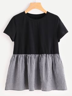Gingham Ruffle Trim Mixed Media Babydoll Tee Only US$13.00