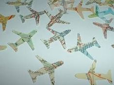 100 AIRPLANES Vintage Atlas Map Punches for travel theme projects and parties Airplane Sketch, Airplane Design, Partys, Travel Themes, Planer, Map, Vintage, Modern, Etsy