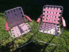 Retro Burgundy Maroon & White Aluminum Lawn Chairs  by FunkyKoala