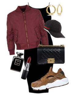 """""""Dark Nights"""" by amuramasri on Polyvore featuring NIKE, WearAll, Chanel, Gucci, Bling Jewelry and MAC Cosmetics"""