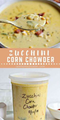 Looking for a Healthy Zucchini Recipes? Try this Zucchini Corn Chowder. This Zucchini Corn Chowder is a creamy and delicious soup. For more delicious mouth watering recipes and fresh from garden meals Visit iamhomesteader.com #soup #zucchinirecipes