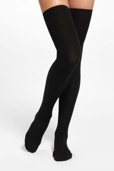 Black Ribbed Over-The-Knee Socks