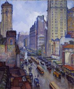 """""""Broadway and Forty-Second Street, New York,"""" Leon Kroll, 1916, oil on canvas, 40 5/16 x 34 1/4"""", Los Angeles County Museum of Art."""