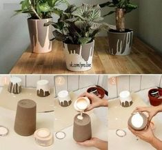 Image shared by sincerelylucy. Find images and videos about flower, diy and creative on We Heart It - the app to get lost in what you love. Cement Art, Concrete Crafts, Concrete Projects, Concrete Design, Diy Concrete Planters, Papercrete, Beton Diy, Creation Deco, Ideias Diy