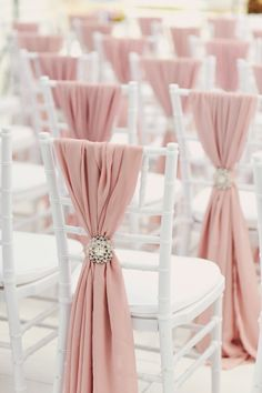 All heart-eyes over here! Brides, are you dreaming of blush sashes and crystal broaches for your ceremony chairs? Wedding Ceremony Chairs, Wedding Chair Sashes, Wedding Chair Decorations, Beach Wedding Reception, Wedding Seating, Chairs For Wedding, Wedding Chair Covers, Wedding Centerpieces, Wedding Event Planner