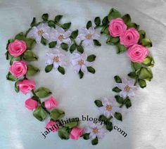 A cushion cover with love Ribbon Embroidery Tutorial, Silk Ribbon Embroidery, Hand Embroidery Patterns, Embroidery Designs, French Beaded Flowers, Quilling Patterns, Ribbon Art, Ribbon Design, Crafts