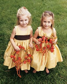 orange flower girl wreaths - sweet little lantern flowers and berries - autumnal and quirky