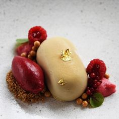 Beautiful Valrhona DULCEY 32% frozen mousse, Brown sugar crumble, Raspberry sorbet and foam, Raspberry beet pearls, DULCEY 32% crunchy pearls, Gold leaf, Hearts on fire sorrel by our Cercle V member Pastry Chef Natalie Gazaui of Eberly Austin!