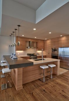41 Best Of Contemporary Kitchen Design Ideas 40 Modern Kitchen Design Contempora… Kitchen Room Design, Luxury Kitchen Design, Best Kitchen Designs, Kitchen Cabinet Design, Luxury Kitchens, Home Decor Kitchen, Modern House Design, Interior Design Kitchen, Kitchen Furniture