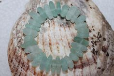 STUNNING CENTER DRILLED BEACH GLASS BEADS IN AWESOME AQUA COLOR