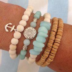 beachcomber beach bohemain jewelry coconut shell bracelet cultured sea glass nautical anchor bracelet stack