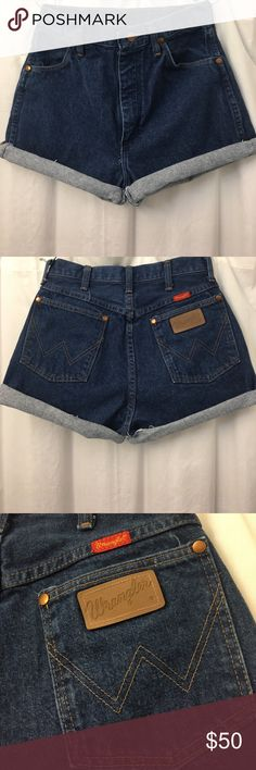 Vintage high waisted Wrangler shorts sz 26/27 Vintage high waisted Wrangler shorts. Would fit a size 26 or 27. True denim color. Can be worn cuffed or uncuffed. Perfect condition. Feel free to make an offer :) Wrangler Shorts Jean Shorts