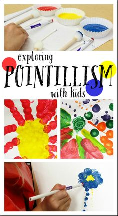 Explore pointillism with kids - fun and easy art for kids Easy art for kids to make while learning about pointillism. Simple set up, open-ended art that children of all ages can enjoy. Fun way to explore artists. Kindergarten Art, Preschool Art, Easy Art For Kids, Kids Fun, Art For Children, Toddler Art, Art Classroom, Simple Art, Art Plastique