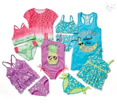 Tween Girls' Swimwear & Cute Bathing Suit Styles - - Tween Girls' Swimwear & Cute Bathing Suit Styles Justice Swimwear Fresh trend: fruity graphics and prints in sizes for every body. Cheer Outfits, Cute Girl Outfits, Kids Outfits, Cool Outfits, Summer Outfits, Justice Girls Clothes, Justice Clothing, Tween Girls, Cute Girls