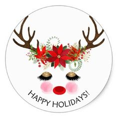 Rosy Cheeks Gold Eyes Floral Reindeer Holiday Classic Round Sticker - party gifts gift ideas diy customize