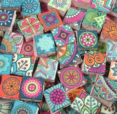 Ceramic Mosaic Tiles - Medallions Moroccan Tile Mosaic Blue Pink Orange Boho Style