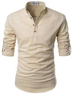 NEARKIN (NKNKN350) Beloved Men Henley Neck Long Sleeve Daily Look Linen Shirts BEIGE US XS(Tag size XS)