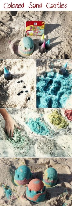 Mix a few drops of food coloring (Neon works best) in the sand and Voila colored sand! Kids LOVE it! (The food coloring will stain hands for a bit, but easily washes out with plenty of ocean/pool play. It will not stain clothes). HAVE FUN MAKING THINGS COLORFUL!!!!!