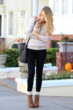 Women's Grey Oversized Sweater, Black Skinny Jeans, Brown Leather Lace-up Ankle Boots, White Knee High Socks