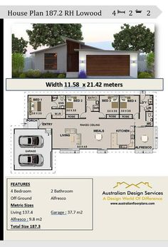 Modern House Floor Plans, Dream House Plans, Narrow House Designs, House Plans South Africa, Steel Frame House, 4 Bedroom House Plans, Long House, Puerto Rico, House Layouts