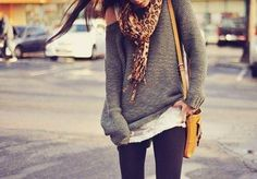 Leopard scarf, yellow bag, leggings, comfy sweater, perfect!!!