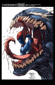 Dan Prado PradoInkworks Signed Spider-Man Moon Black and White Print