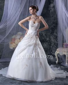 A-line Wedding Dresses Sweetheart Court Train Organza Satin Ivory 010010100583
