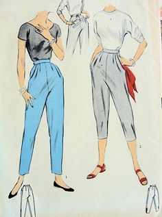 In the 1950's, pants became slimmer and hugged the body more. Pictured are houseboy pants, which were slim pants that ended at the calf.