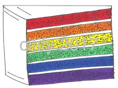 Wedding Rainbow LGBT Gay Pride Layer Cake Slice by citify on Etsy
