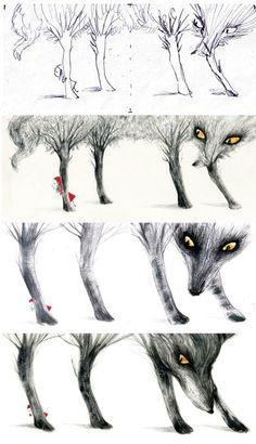 Little Red Riding Hood - Le Petit Chaperon Rouge - Adolfo Serra Little Red Ridding Hood, Red Riding Hood, Children's Book Illustration, Illustrations, Charles Perrault, Art Manga, Fairytale Art, Bad Wolf, Werewolf