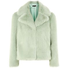 Topshop Camilla Faux Fur Jacket (£79) ❤ liked on Polyvore featuring outerwear, jackets, fake fur jacket, faux fur jacket, green faux fur jacket, retro jackets and topshop jackets