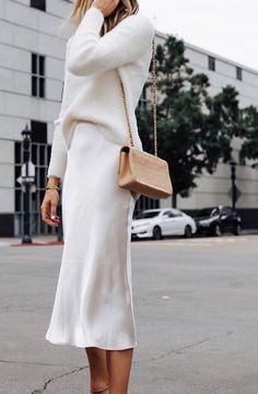 Fashion Jackson Wearing Banana Republic White Fuzzy Sweater White Slip Midi Skirt Winter White Party Outfit 3 outfits style summer teenage frauen sommer for teens outfits Party Fashion, Fashion 2020, Look Fashion, Autumn Fashion, Fashion Tips, Classy Fashion, French Fashion, Classic Fashion Outfits, European Fashion