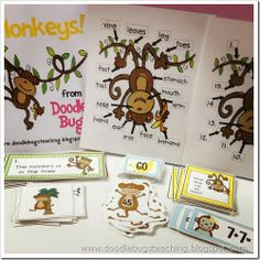 "Tons of ""first grade"" monkey activities plus a printable for ""Five Little Monkeys Jumping on the Bed"" DIY magnets"