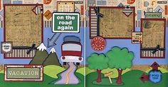 ON-THE-ROAD-AGAIN-travel-2-premade-scrapbook-pages-paper-piecing-vacation-CHERRY