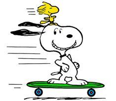 Snoopy and Woodstock Skateboarding