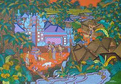 Contemporary Balinese painter I Ketut Tagen's vibrant image of a Balinese compound.
