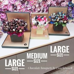 """Edible Bouquets, Hamper Boxes on Instagram: """"70% of our LunchBunchES come in LARGE and MEDIUM sizes, other arrangements come in SMALL size as well. ✅Large holds 3 dozen of…"""" Hamper Boxes, Edible Bouquets, Edible Arrangements, Berries, Chocolate, Medium, Create, Instagram, Edible Arangements"""