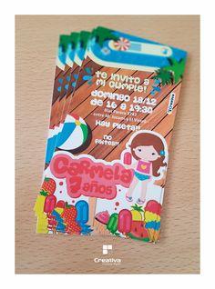 Invitaciones Carmela #7años  #Cards #invitation #verano #frutas #diseñoGrafico #partyKids