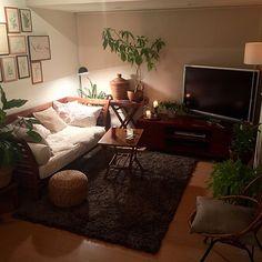 shinさんの、Lounge,観葉植物,キャンドル,ソファ,クッション,音楽,間接照明,一人暮らし,バリ,リゾート,アイビー,パキラ,アンティークテーブル,シダ,スパティフィラム,アタバスケット,無印良品ラグ,アンティークボタニカルアート,ミックス&リラックス,アンティークバンブーチェア,ソニーLED電球スピーカーについての部屋写真