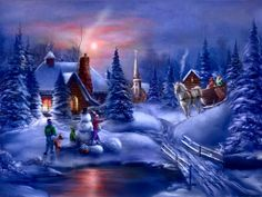 Christmas Sleigh Ride Snow | ... Christmas, night, sleigh ride, SLEIGH RIDE IN SNOW, snow, snowman