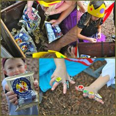 Pirate's Treasure Chest - Pirate Booty snacks, chocolate coins, and play rings for the girls